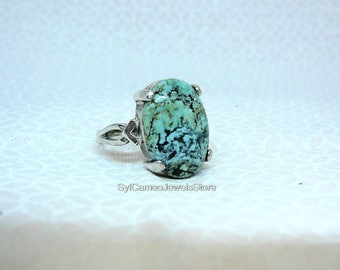 Turquoise Gemstone Statement Ring Sterling Silver Fine Collectible Jewelry by SylCameoJewelsStore