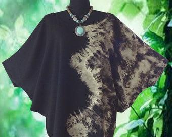 Minimalist Bleached Tie dye Dolman Sleeve Top blouse shirt Batwing Tee