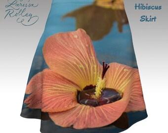 Tropical Hibiscus - flared skirt - Digitally Printed