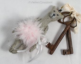 Teddy bear keyring/charm wool twill