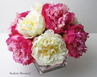 Pink, white/cream, silk, peony/peonies, glass vase, faux water, acrylic, illusion, Real Touch flowers, floral arrangement, centerpiece, gift