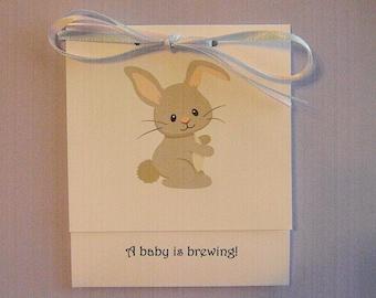 Baby Shower- Tea Bag Favors- Gender Neutral - Baby Bunny Rabbit