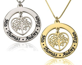 Family tree Mothers Necklace. Personalized Mothers Necklace. Grandmothers necklace in Sterling Silver - Mothers Day Gift.