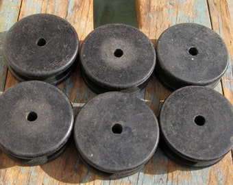 6 Wood Spools Antique Industrial Thread Wire Bobbins