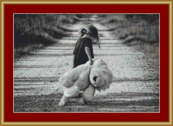 Child With Teddy Cross Stitch Pattern /Digital PDF Files /Instant downloadable
