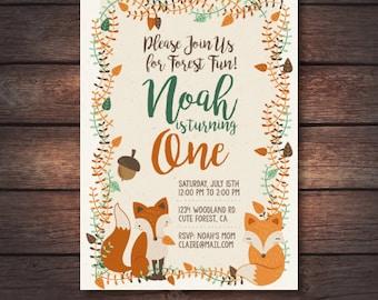 Woodland First Birthday Invitation, Woodland Invite, Woodland Printables, Forest Invitation, Woodland Birthday Party Digital Invitation