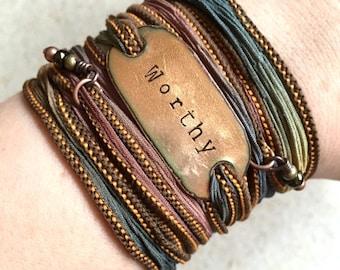 Worthy wrap bracelet, bohemian, christian jewelry. under 50, mom gift, silk bracelet, boho wrap. Wrap bracelet.