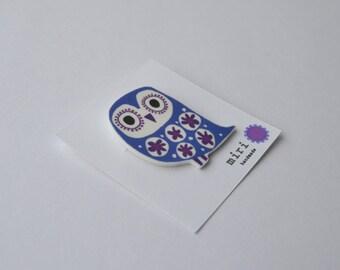 Owl Brooch Pin in Cornflower Blue and Purple, Retro Owl Hand Drawn Design