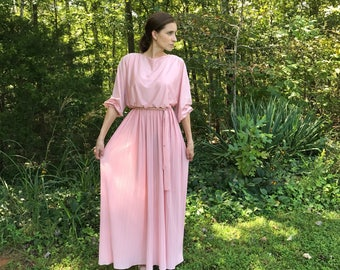 Vintage 70's Dusty Rose Bohemian Goddess Dress