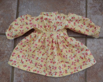 18 Inch Doll Dress - Yellow Calico