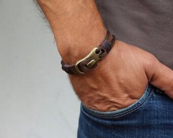 Valentine's Gift For Men,Personalized Men's leather bracelet leather Men, Boyfriend,Husband giftAny text/GPS Coordinates - Friendship Gift,