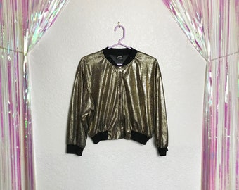 Vintage 1970s DISCO QUEEN Metallic Gold Cropped Glam Jacket