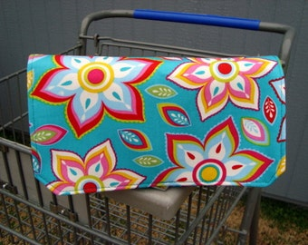 20% OFF Coupon Organizer / Budget Organizer Holder - Attaches to Your Shopping Cart -Turquoise Floral