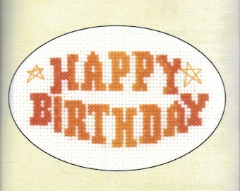 Cross Stitch Card Kit from Heritage Craft, Happy Birthday, 14 ct Aida, Counted Cross Stitch, card kit,  greeting card kit