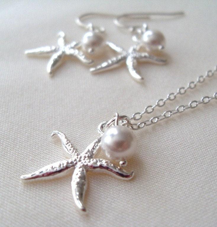 Bridal Jewelry set Silver Starfish and Swarovski Pearl