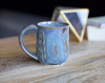 Hand Carved Mug, Blue Coffee Mug, Pottery Mug, Ceramic Mug, Stoneware Mug, Coffee Cup, Large Mug, 12oz Mug