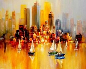 Sailing boats on Lake Garda m95020 120 x 120 cm modern painting hand painted