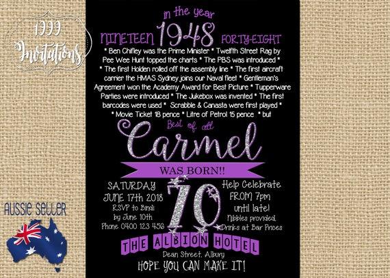 Printable 70th birthday invitation 1948 purple seventieth filmwisefo Images