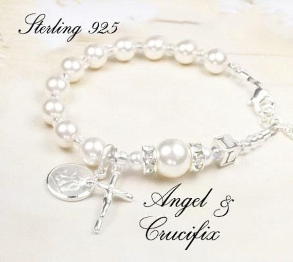 Bébé en argent Sterling et Swarovski baptême personnalisé Bracelet chapelet  en argent Sterling Croix, coeur Diamante, ... c5a504b5c9e4