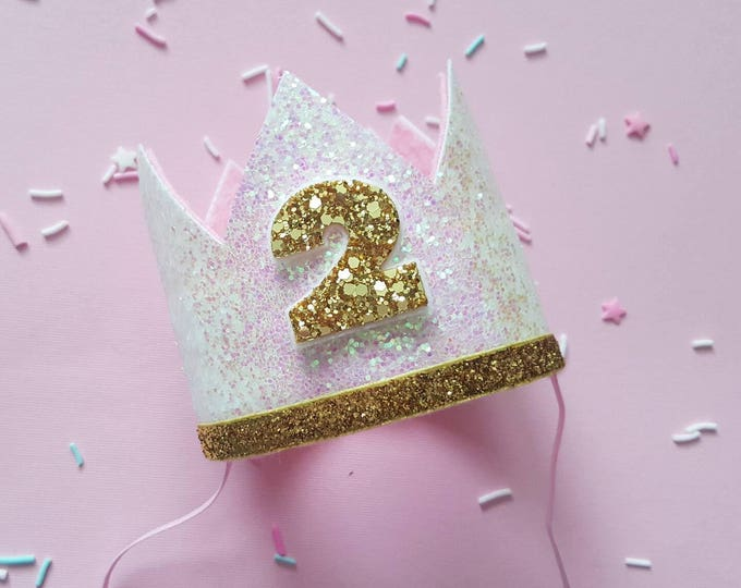 Glittery Birthday Crown | Birthday Crown | 2nd Birthday Crown | Girl Birthday Crown | Baby Birthday | Pink and Gold | Ready to Ship