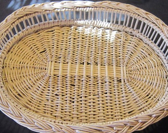 large vintage wicker tray sturdy tray serving tray