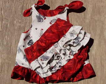 2 Piece 18 Month Toddler Outfit, Summer in the Country, Roosters and Dragonflies, Top and Diaper Cover Chicken Tie Top Set