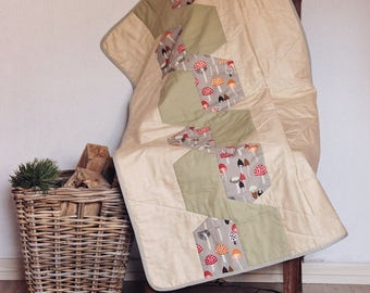 Mushroom, forest baby blanket, organic baby quilt, modern heirloom blanket, wall hanging
