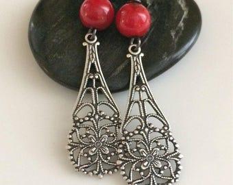Red Sea Coral Earrings  Bohemian Earrings  Filigree Earrings  Boho Earrings  Long Dangle Earrings  Gypsy Dangles