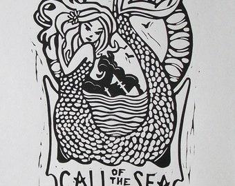 CALL of the SEA original block print of mermaid