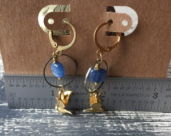 chasing a dream -swallows with indigo kyanite brass earrings dangle drop summer