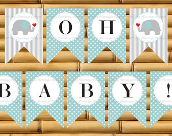 Baby Shower Banner, Light Teal and Grey, Flag, Decor, Oh Baby, Elephant, Party Baby Shower Banner, Printable, Instant Download-TFD304