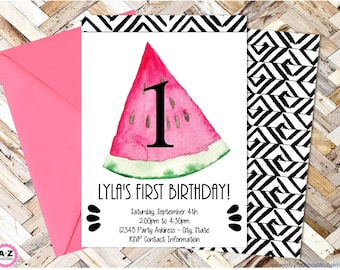 Watermelon Editable Party Invitation, Any Age, Watermelon Party, One, Sweet, Summer, Watercolor, Edit with Adobe Reader,