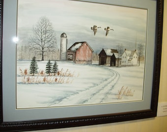 Snowy Farm, an original water color