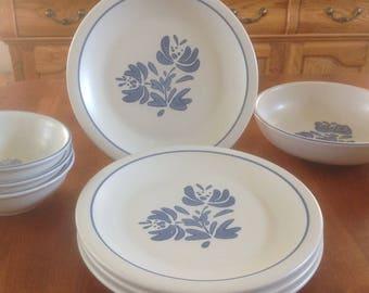 "Four (4) Pfaltzgraff USA YORKTOWNE 10"" Dinner Plates"