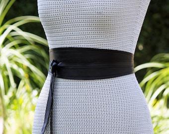 REVERSIBLE Genuine Leather • Black 3 inch Wide Wrap Belt • genuine lambskin • bespoke • XS S M L XL • petite + plus size • Obi belt