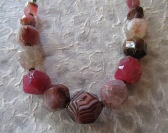 Gemstone Statement Necklace in Pink