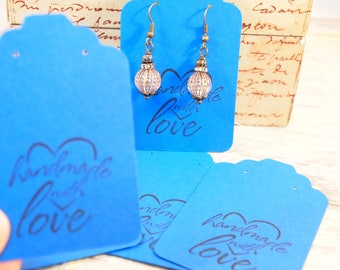 "Royal Blue Earring Cards Card Stock Paper Earring Cards 20 Earring Cards 3 1/4 x 2 1/8"" Supplies Seller Supplies CKDesignsUS"