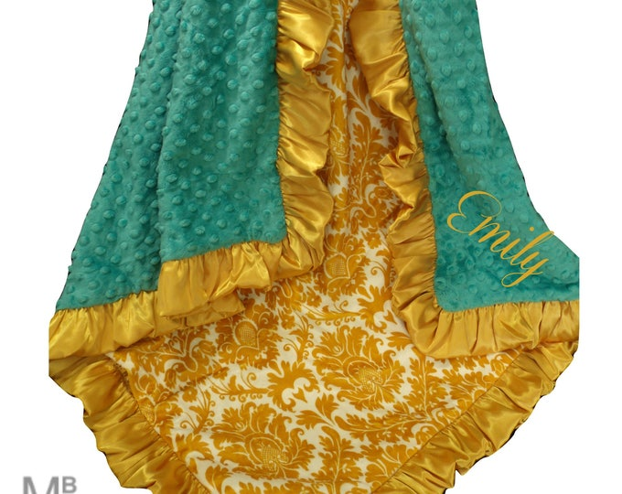 Teal and Gold Damask Minky Swaddle Baby Blanket, Mustard Yellow Minky Blanket
