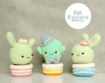 PDF. PATTERN - Cute Cactus Lover, Amigurumi pincushion, Crochet pattern, Amigurumi patterns.