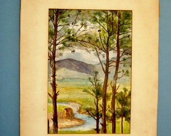 Edwardian Landscape Watercolor Painting of Woodland River and Hills Original Art Antique Wall Hanging