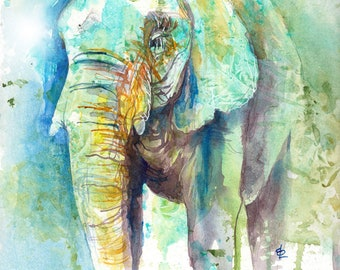 Elephant ORIGINAL colourful watercolor painting