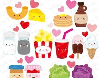 Friendship Food Cartoon 2 , Best Friend Cute Clip Art / Cute Food Clipart (CG197)