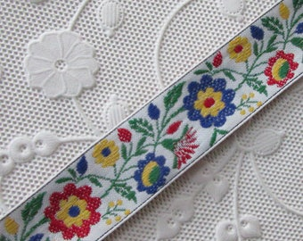 2 Yards Folkloric Woven Jacquard Ribbon Floral Costume Trim 3/4 Inch Wide IT80