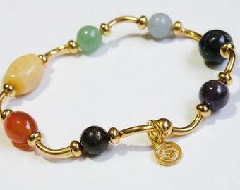 Gold curves Chakra Bracelet with natural gemstones *FREE SHIPPING USA* 315.4