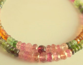 2 Strand  Gorgeous Natural Multi Tourmaline faceted Beads Gemstone 3-5 mm 90 cts 15-16 inch