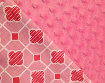 Baby Car Seat Canopy COVER or NURSING Cover: Modkid Pink Blocks with Pink Minky, Personalization Available