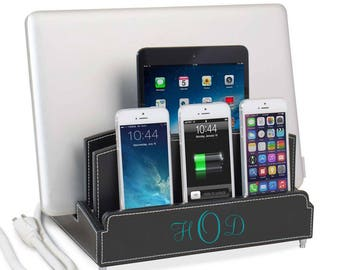 Leatherette Ultra Charging Station with 6-Outlet Power Strip | For the Office or Home | Great for Families | Organization | Personalization