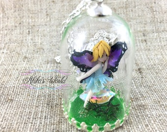 Butterfly fairy necklace with her purple and pink wings under a dome - Stainless chain - Kawaii / fantasy jewelry - Polymer clay pendant
