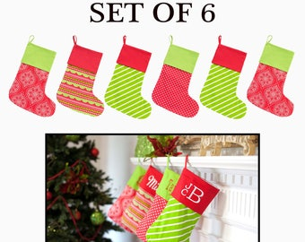 Personalized Christmas stockings, set of 6 monogrammed family Christmas stockings, monogram Christmas stockings,