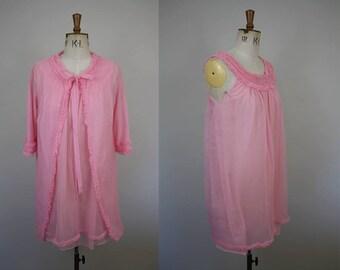 1960s Peignoir Set / 2 Piece Lingerie Set / Nylon Babydoll Set / 60s Nightgown / 1960s Robe / Size Medium / M L